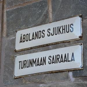 Åbolands sjukhus-skylt.