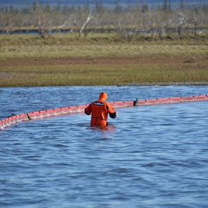 Pelastustyöntekijä kahlaa vedessä. Taustalla öljypuomi.
