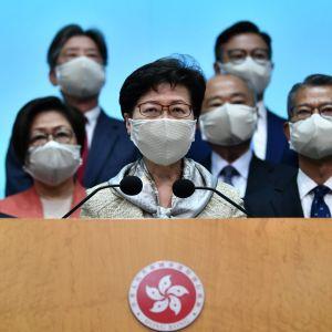 Hongkongin hallintojohtaja Carrie Lam puhui lehdistötilaisuudessa osallistuttuaan kansankongressin istuntoon.