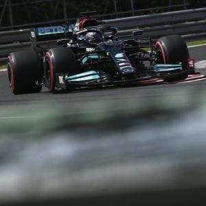 Lewis Hamilton kuvassa.