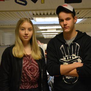 elever i Korsholms högstadium, Anna Skoglund och Linus Nyman