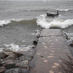 Stormigt på Drumsö i Helsingfors 22.2.2020