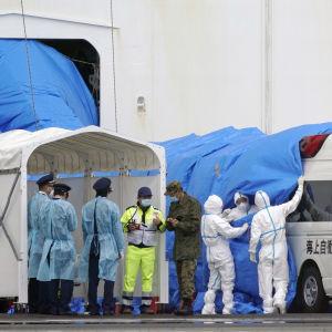 Suojapukuihin pukeutuneet ihmiset vetävät laivan kyljessä olevasta aukosta tulevaa sinistä suojakangasta ambulanssin päälle.