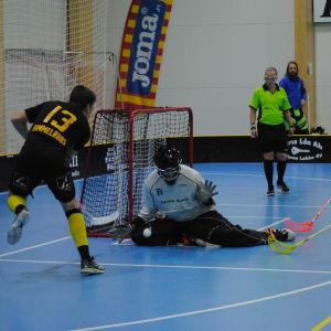 En spelare skjuter bollen på målvakten.