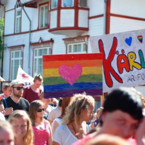 Paraden vid Åland Pride 2014.
