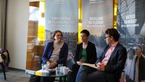 Heidi Hautala, Ska Keller och Ville Niinistö.