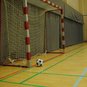 En futsalboll i ett mål.
