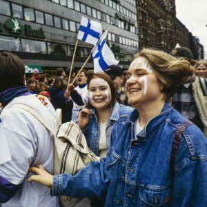 Guldfest i Helsingfors efter ishockey-VM 1995.
