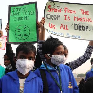 Barn i Indien protesterar mot dålig luft i New Delhi.