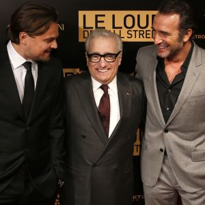 Leonardo DiCaprio, Martin Scorsese och Jean Dujardin på premiären av The Wolf of Wall Street i Paris.