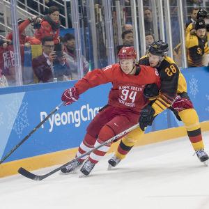 Idrottarna från Ryssland mötte Tyskland i OS-finalen 2018.