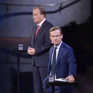 Ulf Kristersson och Stefan Löfven under en av utfrågningarna inför valet 2018.