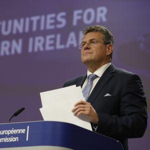 EU-kommissionär Maros Sefcovic på presskonferens.