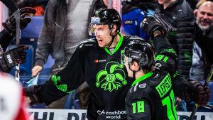 Marko Anttila och Sami Lepistö firar ett mål