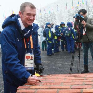 Andrew Parsons vid de paralympiska spelen i Pyeongchang.