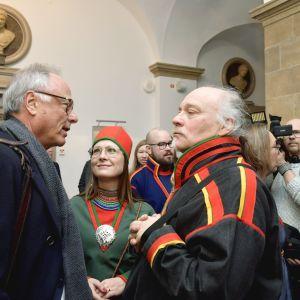 Matti Blind Berg, Girjas samebys ordförande,och Peter Danowsky, Girjas advokat, i Högsta domstolen i Stockholm.