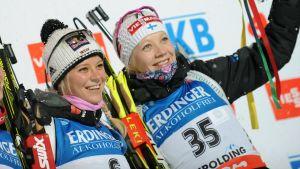 Mirjam Gössner och Kaisa Mäkäräinen är goda vänner.