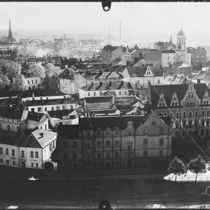 Näkymä Viipurin linnan tornista Linnoituksen kaupunginosaan