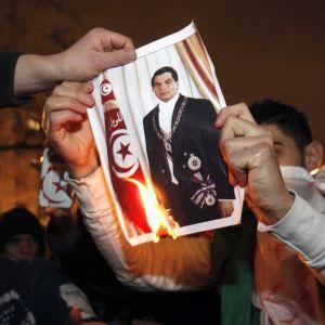 Demonstranter i Paris bränner en bild på president Zine al Abidine Ben Ali.