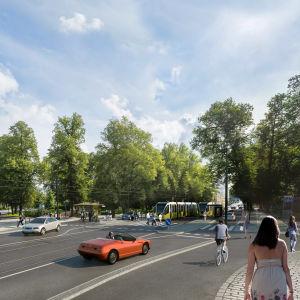 Skiss över framtidens spårvägar i Åbo