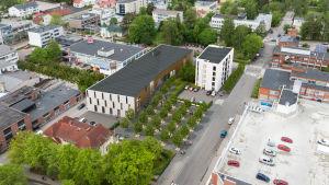 Flygfoto över Karis centrum där det planerade Fokus kulturhus syns.