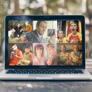 En laptop på ett bord, på skärmen ser man bilder från filmen Mannen utan minne, serier Kommissarie Lewis, Kentä laidalla, Bärtil, Aikuiset och Sommaren 85.