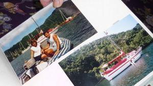 fotografier på unga Anneli och seppo Sarekoski i Karibien och en bild på deras segelbåt