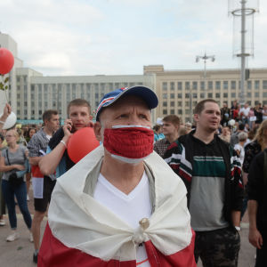 Demonstranter i Belarus.