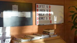 Hagahemmet , genast när man kommer in. Skylt med avdelningarnas namn, Loftet, Lunden, Hagen och Hemmet.