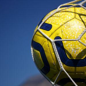 fotboll i ett nät
