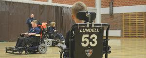 Alex Lundell på FC Inter Powerchairs träningar.