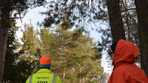 En nödraket blåser iväg över trädtoppar. En man i gul reflexjacka och orange mössa och en dam i röd anorak följer den med blicken.