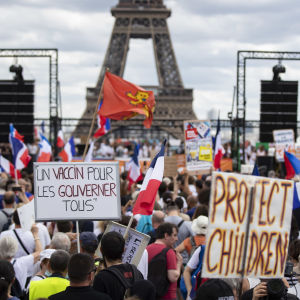 Bild på en demonstration i Paris. På bilden syns en folkmassa där en del håller upp skyltar med franska slagord.