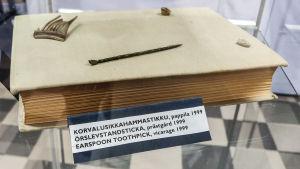 Flera små fynd utanpå en bok i en glasmonter. Närmast kameran syns en örslev, ett avlångt litet metallföremål med slevformad ända.