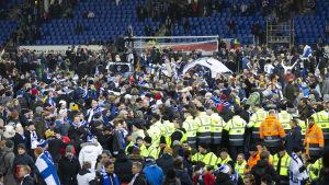 Anhängare firar Finlands vinst på planen
