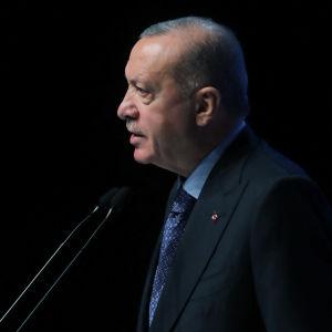 Erdogan står framför en mick.