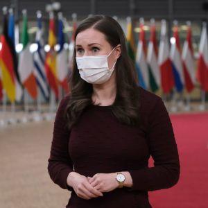 Statsminister Sanna Marin vid Europeiska rådets möte i december 2020. Dagens möte skedde via videoförbindelse.