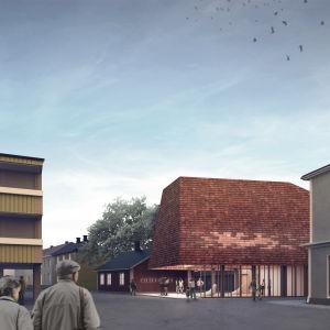 nyare och äldre byggnader i stadsmiljö