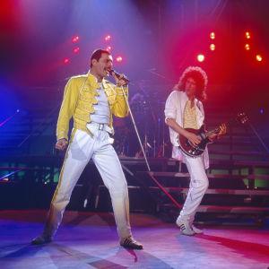 Freddie Mercury och Brian May live med Queen på Råsunda stadion i Stockholm 7.6.1986.