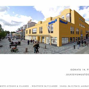 Skiss över Nordeafastigheten invid gågatan i Jakobstad