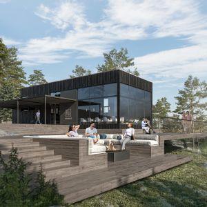 Så här är det tänkt att huvudbyggnaden med reception och restaurang ska se ut.