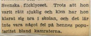 Klipp ur Hufvudstadsbladet 1957. Lucia Leila Saxberg beskrivs som rätt sjuklig och klen i sin ungdom.