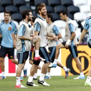 Spanien tränar under EM