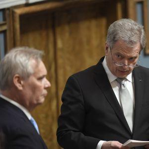 President Sauli Niinistö och talman Antti Rinne vid riksmötets öppnande