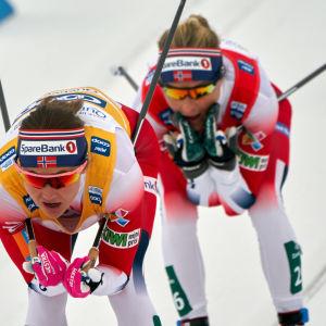 Ingvild Flugstad Østberg kom i mål bakom Therese Johaug.