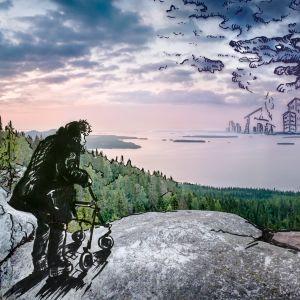Rollaattoriin turvautuva Kätkäläinen seisoo Kolin laella.