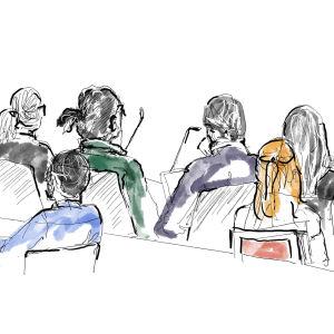 Sketch från ASAP Rockys rättegång i Sverige 1.8.2019