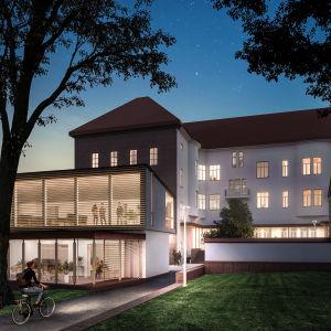 En illustration av hur en eventuell tillbyggnad till finska församlingshemmet i Borgå kan se ut. En ung cyklist kommer cyklande från Runebergsparken mot en fyrkantig byggnad med stora fönster som ligger intill församlingshemmet.