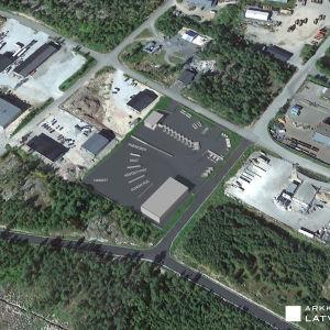 Planritning över Rosk´n Rolls nya avfallsstation i Ekenäs.