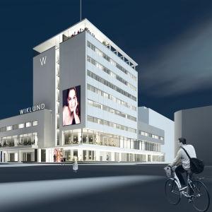 En ritad bild på TOK:s visioner på hur varuhuset Wiklund ska se ut i framtiden, med takterass och flera hotellrum.